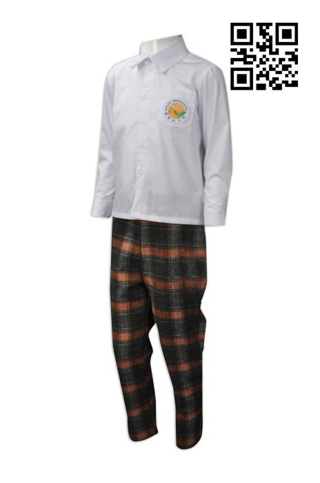 SU246  訂造兒童男裝校服   設計小童幼稚園校服  格仔長褲 定購褲裝男款幼兒園校服 校服製造商