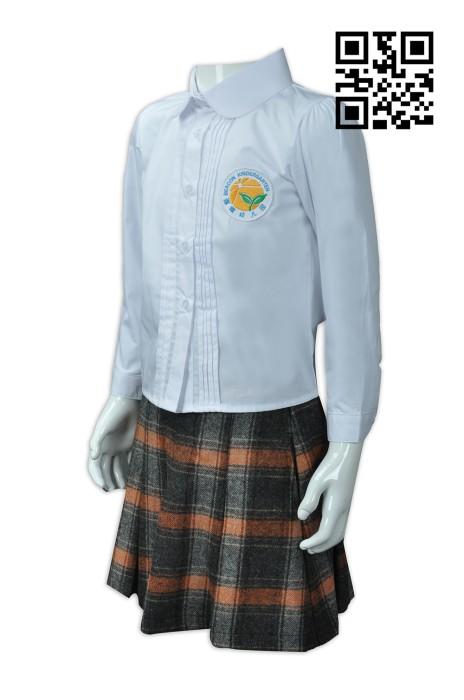SU242 自製幼兒園校服款式    訂造套裝幼兒園校服款式  格仔裙  設計女裝童裝校服款式  校服製衣廠