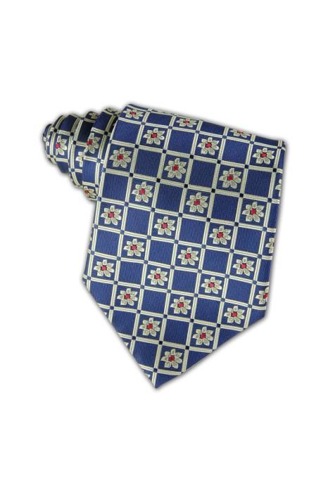 TI098 提花長款領呔 來版訂做 方格雛菊領呔領巾 西裝 領呔點襯 領呔供應商