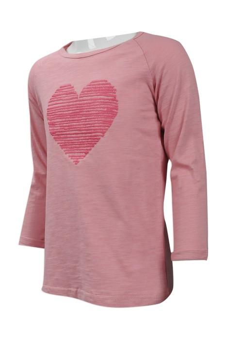 KD029 來樣訂做女童長袖時裝款 設計LOGO款女童時裝款 7分袖 花紗 暗紋 台灣 製作女童時裝款式供應商