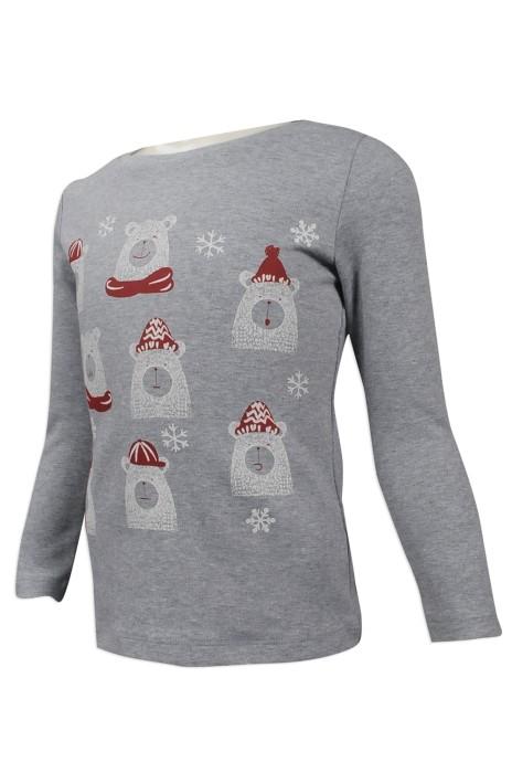 KD038 來樣訂做幼童長袖T恤 團體訂購幼童長袖T恤 聖誕 圖案 節慶 台灣 製作幼童T恤專營店