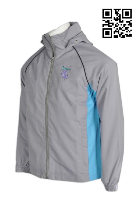 DS049 自訂風䄛外套  設計撞色風䄛外套  鏢隊 風褸 隊褸 定購風䄛外套 風樓外套生產商