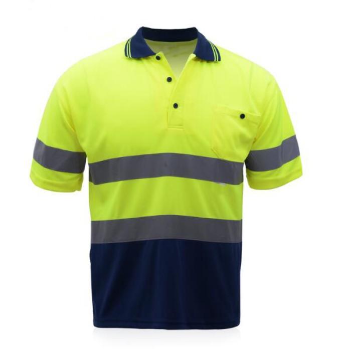 SKRS001  設計安全反光polo恤款式   自訂拼色反光短袖polo恤   防紫外線   訂造反光polo恤款式  反光polo恤廠房
