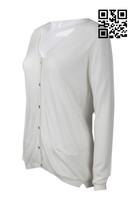 CAR024  設計純色女款冷外套   網上下單V領開衫外套  度身訂造冷外套 冷外套供應商