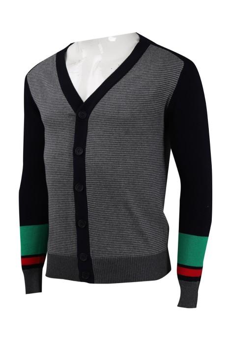 CAR034 訂製撞色袖開衫冷外套  2/32s100%棉 305G 冷外套生產商
