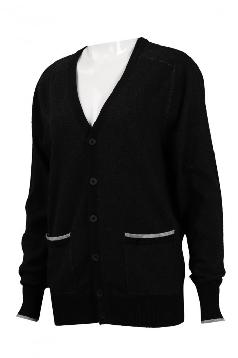 CAR037 製作V領針織開衫外套 2/32s100%棉  277G 冷外套供應商