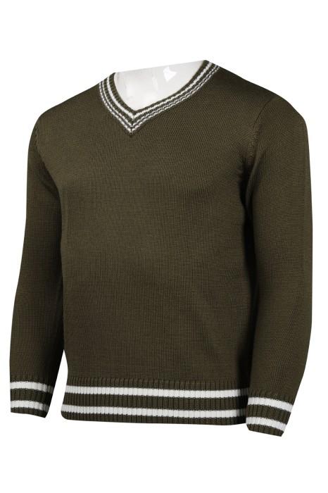 JUM045 設計軍綠色V領男款毛衫  2/32s70腈綸30羊毛 427G  毛衫製造商