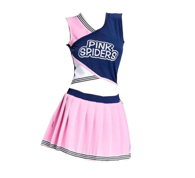 SKCU013 製作拼色啦啦隊服款式   訂造百褶裙啦啦隊服款式  賽車女郎 自訂表演服啦啦隊服款式  啦啦隊服專營