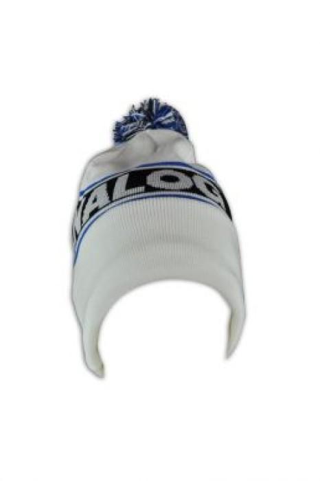 BEANIE016 拼色護耳冷帽 訂製 針織字母冷帽 毛球冷帽款式 冷帽香港公司