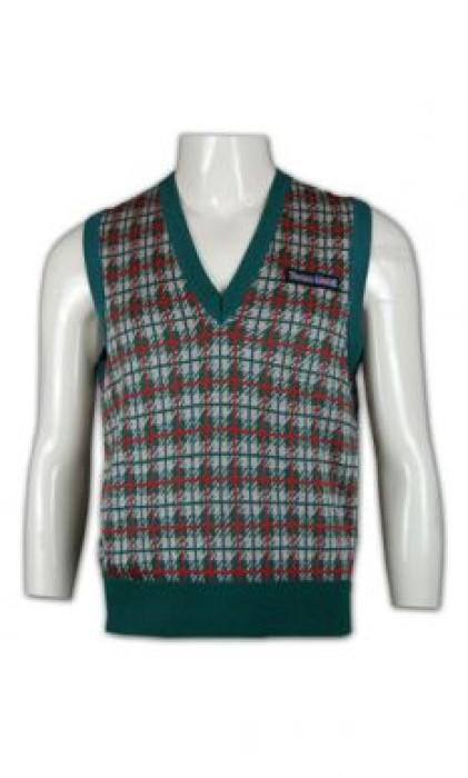 LBX022 冬季冷背心來版訂造 格紋羊毛冷背心 深V領冷背心款 冷背心生產商