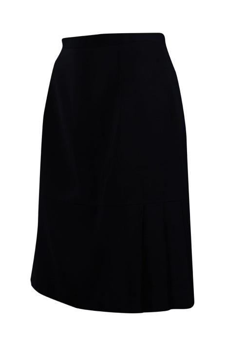 US011 設計黑色半身西裙 鈕扣拉鏈 65%棉35%滌 西裙供應商