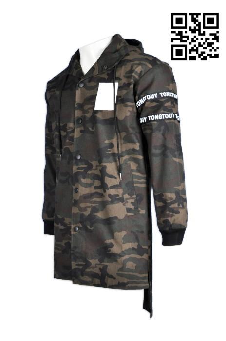 J466訂購秋冬青少年風衣外套  男寬鬆中長款印花迷彩外套   迷彩綠 男士連帽上衣風褸 迷彩外套製造商