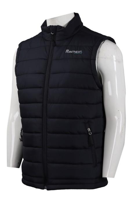 J767 設計夾棉拉鏈背心外套  羽絨外套供應商