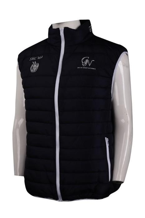 J811 訂製夾棉拉鏈背心外套 馬術學校 燙字 後領繡花 夾棉外套製造商