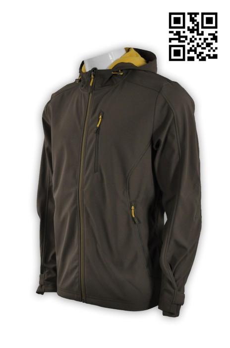 J522個人設計男士外套 訂購咖啡色外套 複合 鯊魚仿布3合1 四面彈 網上下單外套 防水保暖三合一外套 三合一功能外套 外套制服公司 探險家衣服