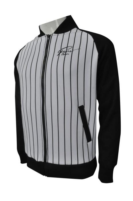 Z331  訂購牛角袖棒球褸  設計個性棒球褸  間條 製造條紋棒球褸 棒球褸製造商