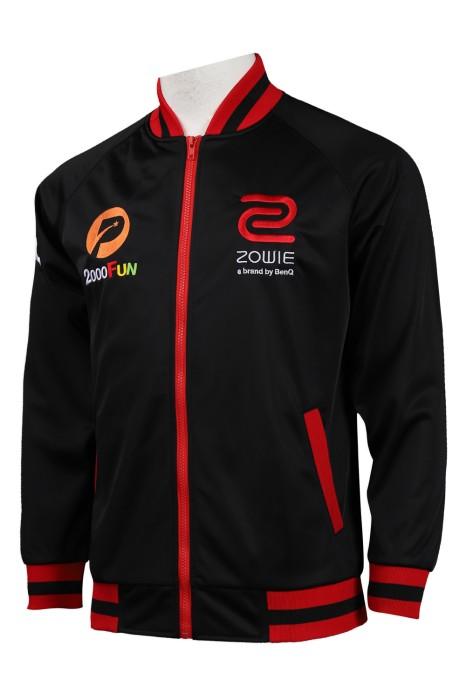 Z409 訂做黑色綉花logo棒球褸 棒球褸生產商