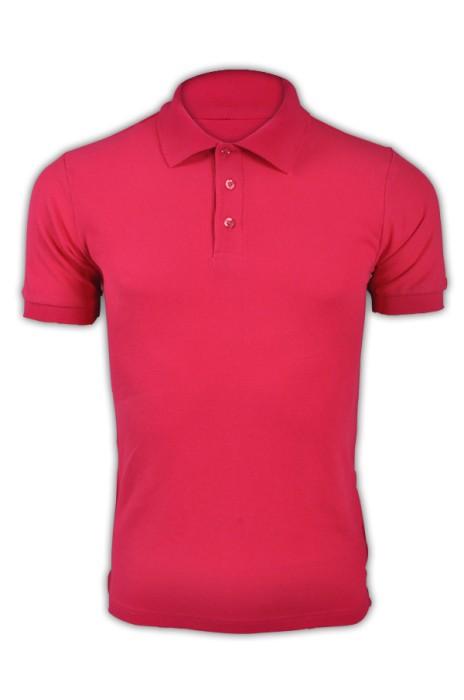 純色 深玫紅色026短袖男裝Polo恤 1AC03  DIY純色polo恤 純棉透氣polo恤 polo恤製造商 T恤價格