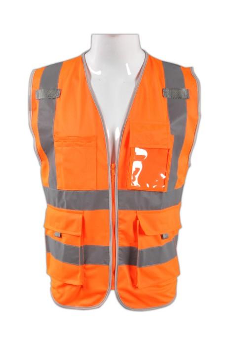 TB 橘色EN471梳織高亮反光背心LK#003供應訂造道路作業工程服 拉鏈反光背心 反光製服供應商 梭織反光背心價格