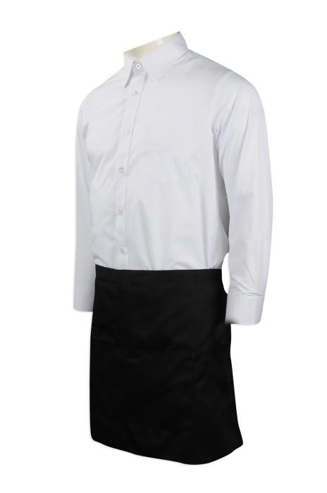 SKAP022  訂造服務員男女半身短款  設計黑色半身圍裙 澳門 萬豪酒店 供應酒店西餐廳咖啡廳圍裙