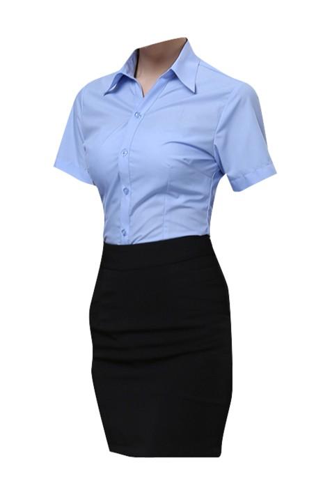 SKR007  設計修身短袖恤衫款式    製作OL職業短袖恤衫款式    自訂男女裝恤衫款式    恤衫廠房