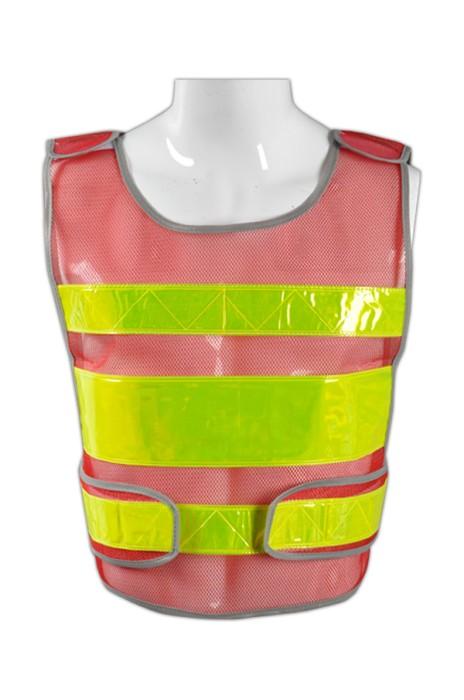 TB 紅網白條EN471梳織高亮反光背心 LK#001  度身訂造工程製服反光背心 施工安全背心 反光服供應商  反光背心價格