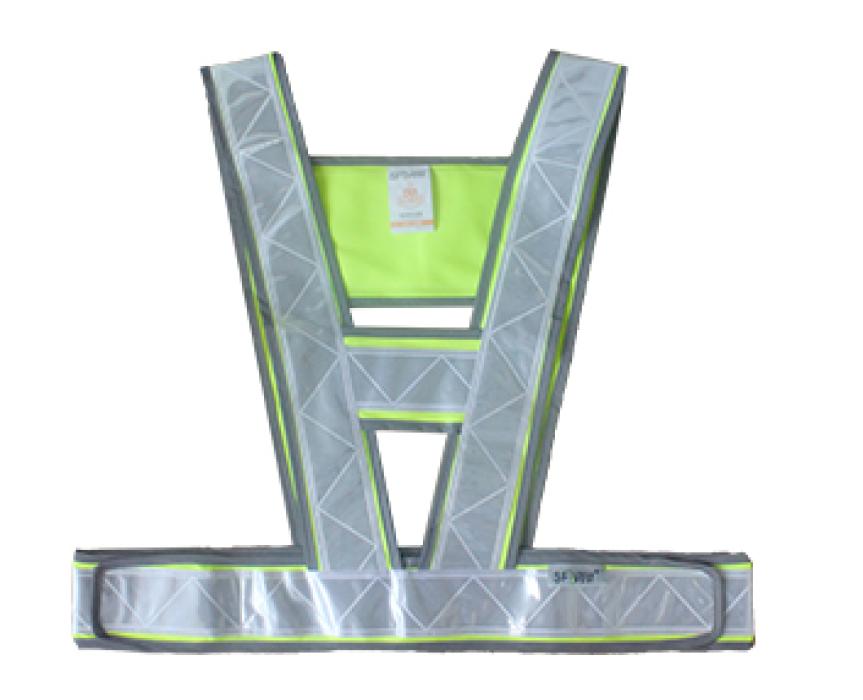 VM-1008  螢光黃偏綠色三角形反光背心   設計訂造三角形反光背心  三角形反光背心廠房  反光背心價格