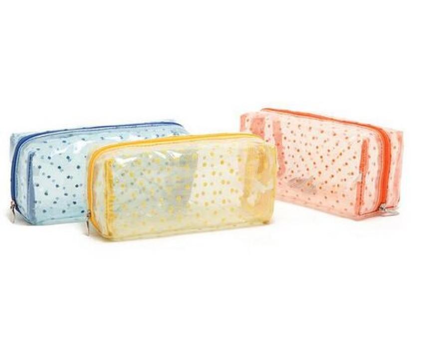 PVCB007 設計防水立體化妝袋  供應透明波點pvc化妝袋 定購熱賣方形款pvc化妝袋  pvc袋製造商