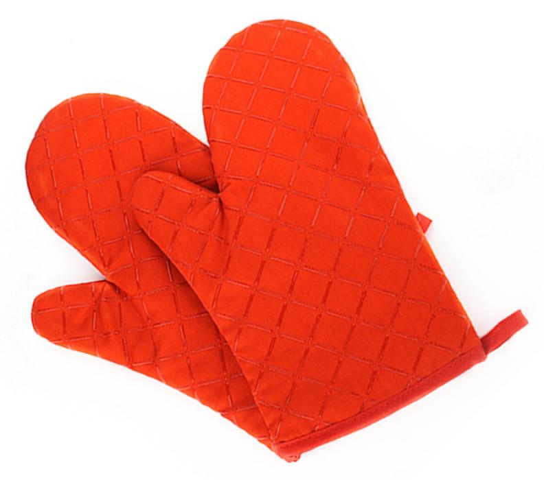 YD150705 橘色隔熱手套   來樣訂做隔熱手套  隔熱手套生產商  滌棉65%硅膠35%   90G  隔熱手套價格