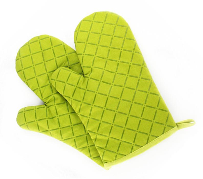 YD150705 草綠色隔熱手套   設計訂造隔熱手套  隔熱手套供應商  滌棉65%硅膠35%  90G  隔熱手套價格