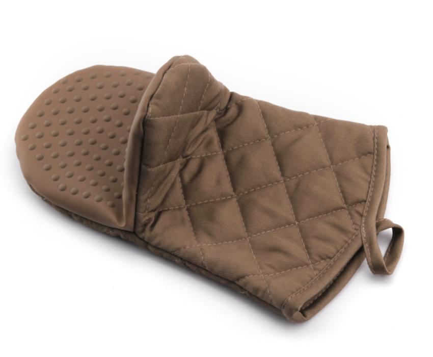 YD150617  咖啡色隔熱手套   度身訂造隔熱手套  隔熱手套製衣廠  滌棉65%硅膠35%   115G  隔熱手套價格