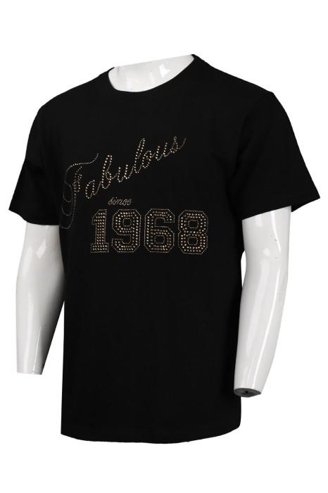 T881 訂購黑色圓領男款T恤 澳門 HK team 燙石 燙珠 釘珠設計 來樣訂造T恤 T恤製衣廠
