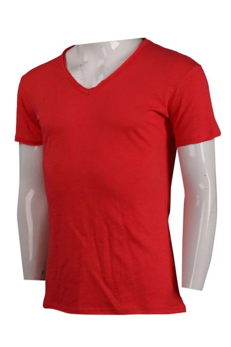 T896 訂做淨色V領T恤 T恤供應商