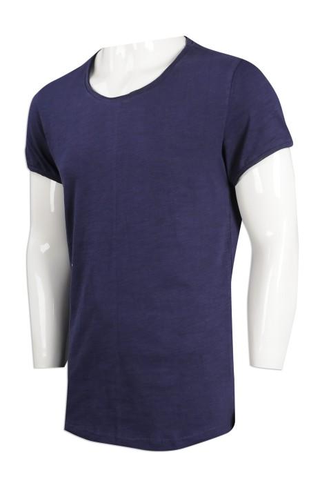 T936 設計淨色T恤 修身 RB 瑞士 花紗 T恤供應商