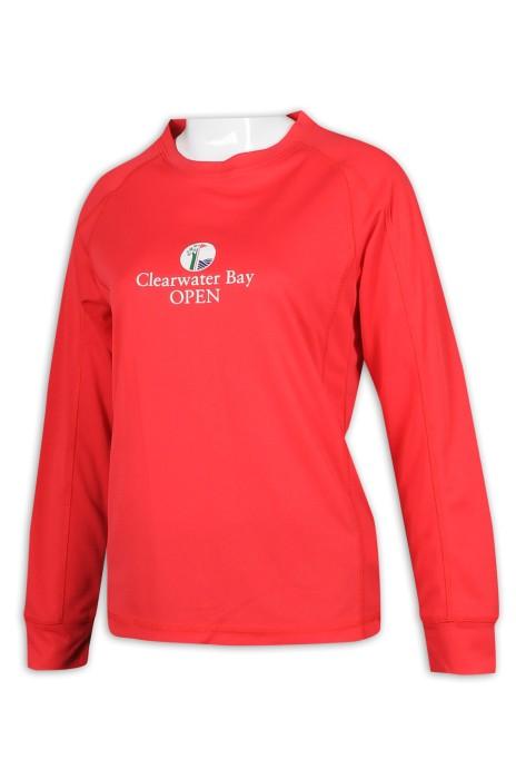 T956 訂製紅色印花logo T恤 高爾夫球 公開賽 職員制服 T恤生產商