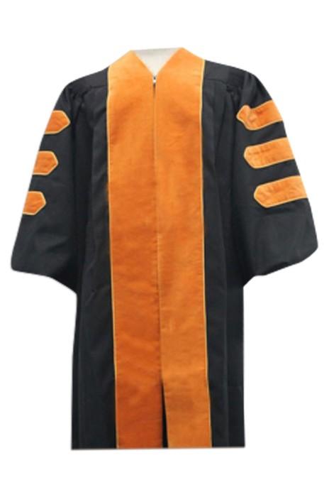 SKDA017  設計橙色邊畢業袍  訂購專業畢業禮服  來樣訂造畢業袍 畢業袍製造商