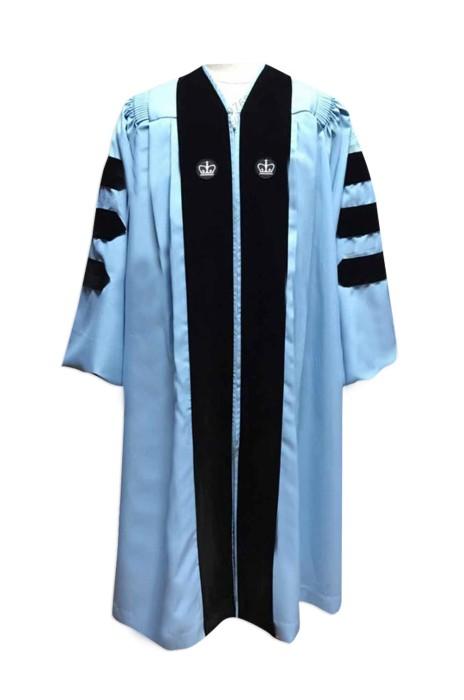 SKDA019 訂造專業畢業袍 天藍邊  網上下單畢業袍  個人設計博士服 畢業袍專營