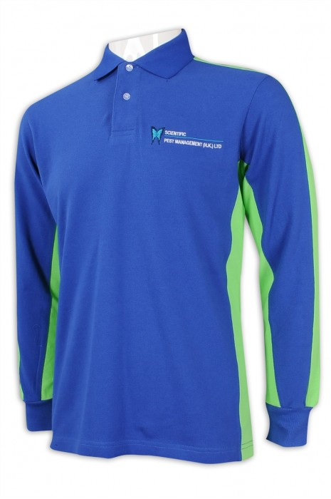 P1125 製造撞色長袖Polo恤  設計長袖工作Polo恤 蟲類 控制 環保 護理行業 100%棉 Polo恤製衣廠