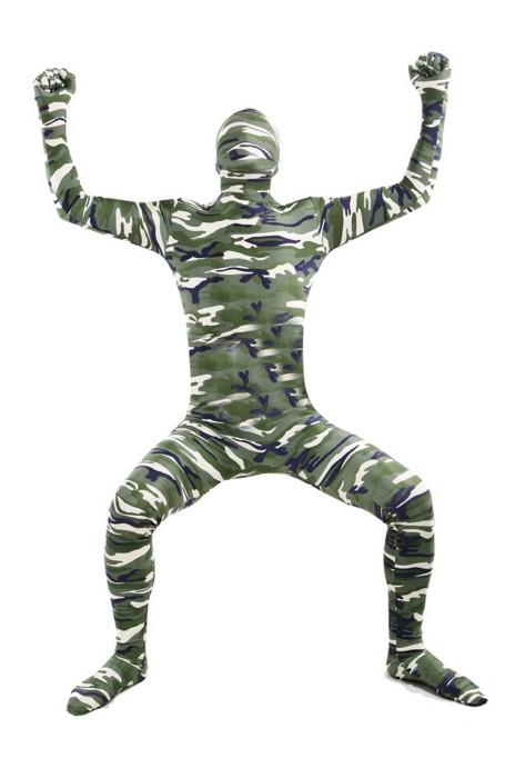 SKTF036 萊卡軍綠色迷彩連身衣