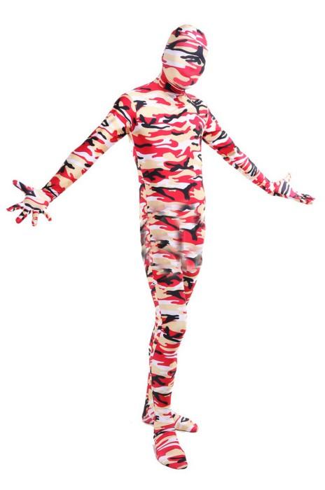 SKTF043 萊卡紅色迷彩全包緊身服