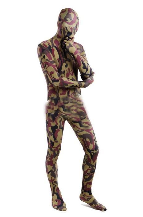 SKTF046 訂購彈力棕色迷彩緊身連體服