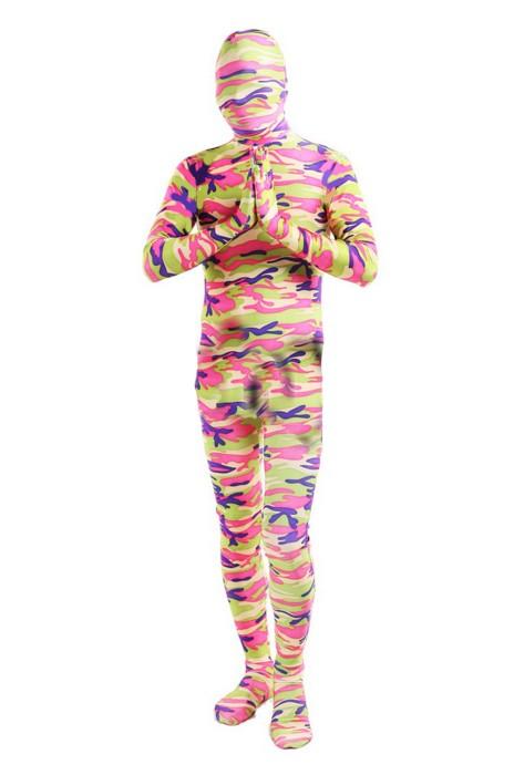 SKTF047 供應彩色緊身彈力迷彩展會連身服