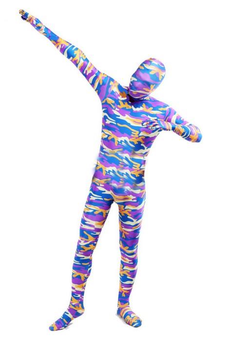 SKTF049 訂做彈力紫色迷彩緊身服