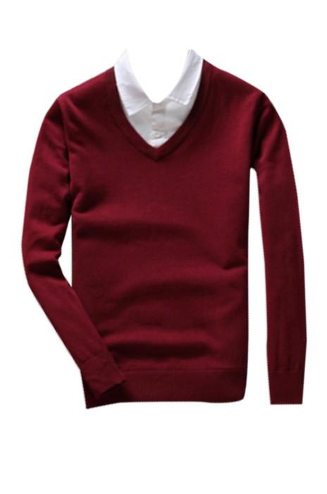 SKSW010 訂購純色假兩件毛衣  男襯衫領套頭帶領針織衫  雞心領薄款V領上衣  毛衫製造商 現貨 價格