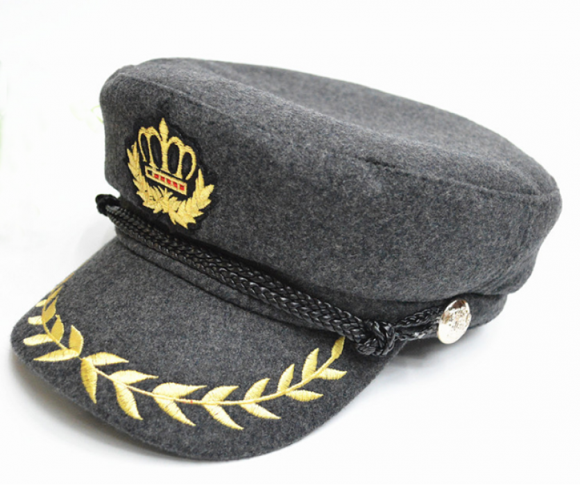 HJM008  訂做灰色海軍帽   度身設計海軍帽    自訂海軍帽款式  海軍帽工廠