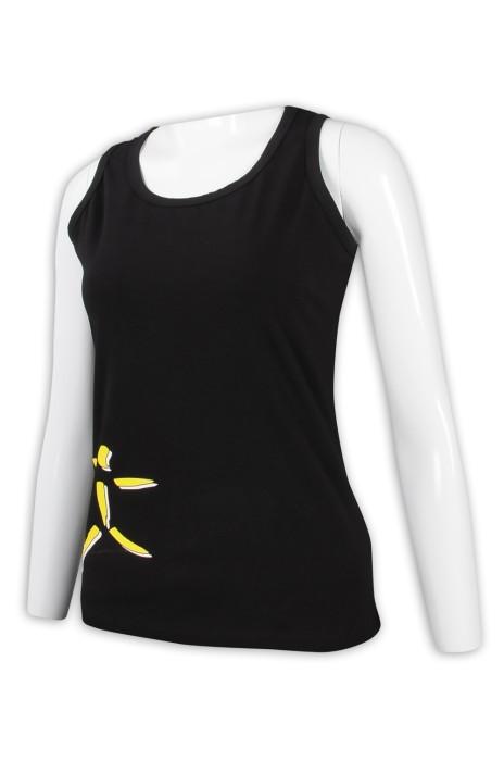 VT222 設計黑色女裝背心T恤 後幅蕾絲拼接 背心T恤製造商