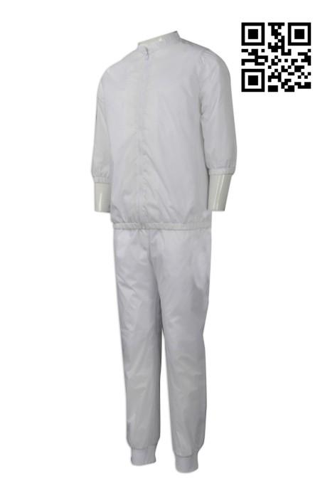 WTV135  設計淨色運動套裝  製作有網層運動套裝 防水 八番食品 食品製造工廠工衣制服 小企領 7分袖 網上下單運動套裝 運動套裝製造商