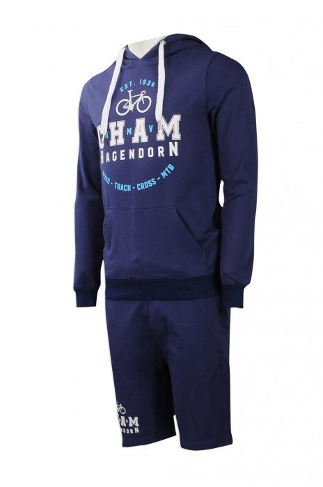 WTV149 度身訂做男裝秋冬運動套裝 自訂衛衣款運動套裝 製作6分褲運動套裝供應商