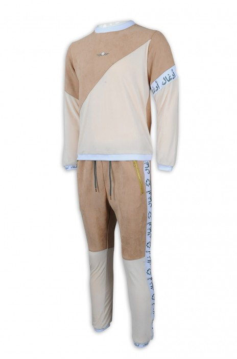 WTV169 訂造冬季撞色休閒套裝 金色褲袋拉鍊 100%滌 運動套裝專門店