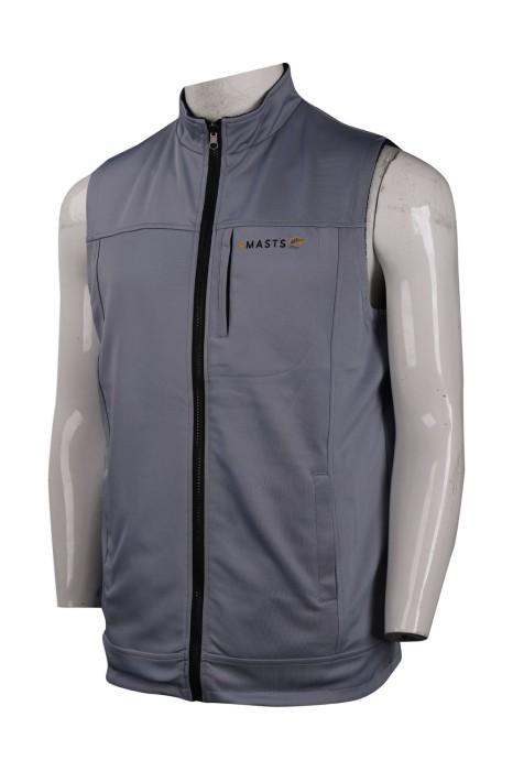 V181 設計淨色背心外套 胸袋直身拉鍊 投資公司行業背心外套製衣廠